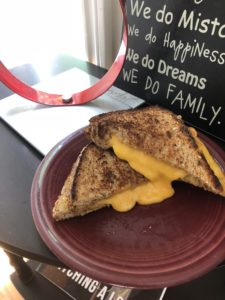 Grilled cheese on multigrain bread (not exactly a diet food).