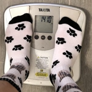 Week 11 weigh in for Eat Bread 90: 141 lbs.